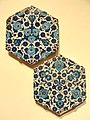 Two Hexagonal Tiles with Floral Arabesque, c. 1540, Ottoman dynasty, Iznik, Turkey - Sackler Museum - DSC02523.JPG