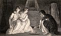 Two women consulting a fortune-teller. Engraving by J. Romne Wellcome V0036031.jpg