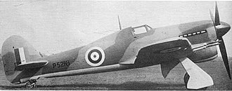 Hawker Typhoon - The second prototype P5216 in the standard RAF camouflage of 1941, possibly with yellow undersurfaces. The retractable tailwheel and main wheels now had doors fitted. Six exhaust stubs and the later standardised four cannon armament were other changes from P5212.