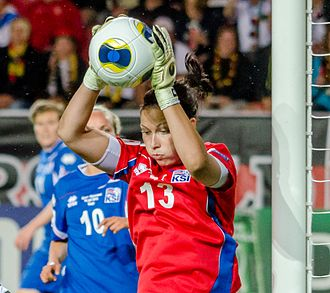 Guðbjörg Gunnarsdóttir - Playing a Group stage game against Germany in the UEFA Women's Euro 2013 at Myresjöhus Arena in Växjö.