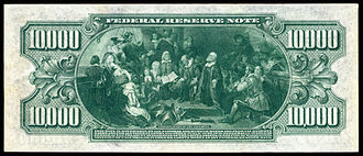 Speedwell (1577 ship) - The reverse of the $10,000 bill shows a scene from Weir's painting of the Speedwell.