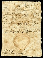 North Carolina colonial currency, 3 pounds sterling, 1729 (obverse)