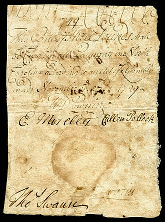 North Carolina pound - Image: US Colonial (NC 33) North Carolina 27 Nov 1729 OBV