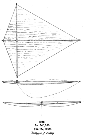 William Abner Eddy - US646375 Willian A. Eddy kite patent image.