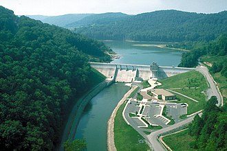 West Fork River - Stonewall Jackson Lake and Dam on the West Fork River near Weston, West Virginia