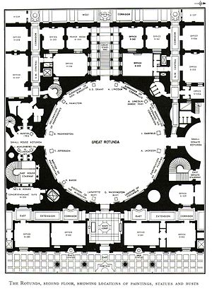 Columbus Doors - Plan showing the Rotunda. The 1958-62 East Front Extension created the Main Lobby, East Extension Corridor and offices shown at bottom.
