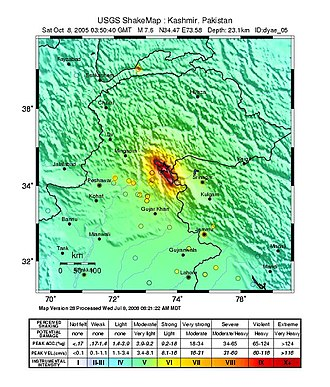 2005 Kashmir earthquake - USGS Shakemap for the event