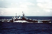 USS North Carolina (BB-55) underway in the Gilbert islands, November 1943