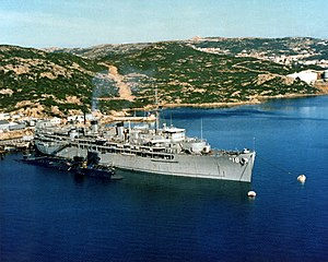 USS Orion (AS-18) anchored at Naval Support Activity La Maddalena, Italy, on 1 September 1983 (6369543).jpg