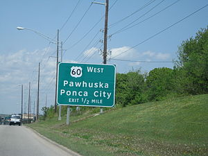 U.S. Route 60 in Oklahoma - US-60 connects many north-central Oklahoma cities and towns, including Ponca City, Pawhuska, and Bartlesville, where this sign is located.
