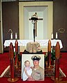US Navy 060829-N-5555T-001 A commemorative photo sits in the Little Creek Amphibious Base Chapel honoring Chief Explosive Ordnance Disposal Technician Paul J. Darga at a memorial service given to his wife and family by Explosiv.jpg