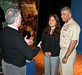 US Navy 061206-N-2529H-003 Master Chief Petty Officer of the Navy (MCPON) Joe R. Campa Jr. and his wife Diana receive instructions from Naval Media Center producer John Morrissey prior to taping a holiday greeting to the fleet.jpg