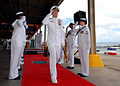 US Navy 070508-N-4965F-028 Chief of Naval Operations (CNO) Adm. Mike Mullen salutes as he is piped through the sideboys at the conclusion of a change of command ceremony.jpg