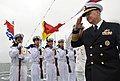 US Navy 090420-N-8273J-206 Chief of Naval Operations (CNO) Adm. Gary Roughead, right, salutes Sailors of the People's Liberation Army Navy type 920 hospital ship Daishandao (AHH 866) in Qingdao, China.jpg