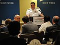 US Navy 091027-N-5208T-001 Rear Adm. W. Mark Skinner, program executive officer for Tactical Aircraft Programs, speaks to a group at the Thought Leader Series hosted by the Greater Houston Partnership.jpg