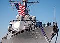 US Navy 100218-N-4345B-060 Sailors man the rail as USS Donald Cook (DDG 75) returns to Naval Station Norfolk following a seven-month deployment.jpg