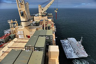 Container ship - Cargo cranes on a US navy container ship