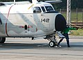 US Navy 110608-N-ZZ999-001 Aviation Boatswain's Mate 2nd Class Dwayne Williams secures a C-2A Greyhound assigned to Air Test and Evaluation Squadro.jpg