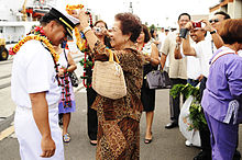 Filipino Americans welcoming a commanding officer of the Philippine Navy at Pearl Harbor