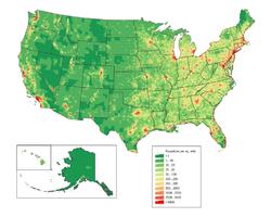 Distribui��o da densidade populacional dos Estados Unidos.