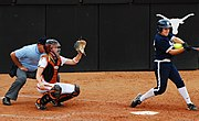 The Texas Longhorns softball team gets a strikeout against Penn State to end the game, February 15, 2008.