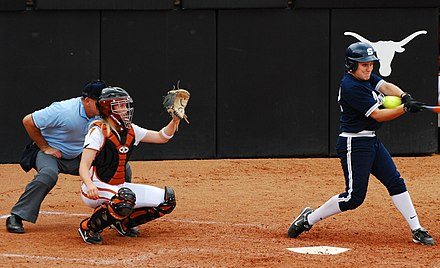The Texas Longhorns softball team gets a strikeout against Penn State to end the game, February 15, 2008. UT softball 2007.jpg