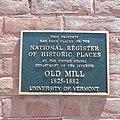 UVM Old Mill Bldg NRHP plaque 20150703.jpg