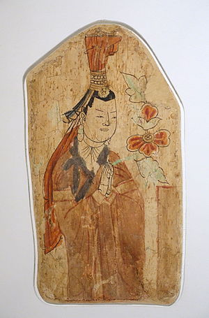 History of the Uyghur people - A Uyghur woman and donor to the Buddha, from the Bezeklik Thousand Buddha Caves, Xinjiang, China, wall painting, 10th-11th century AD