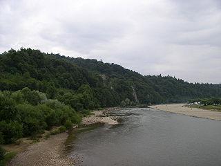 Stryi River river in Ukraine