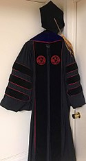 Official doctoral regalia (Ph.D.) for the University of Alabama.