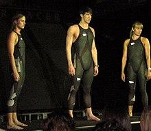 Michael Phelps indossa il costume LZR racer.
