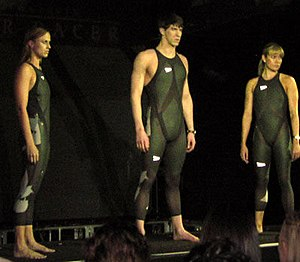 Speedo - Michael Phelps (centre) unveils the Speedo LZR Racer suit.