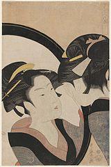 Sept femmes se maquillant devant un miroir