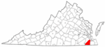 State map highlighting Nansemond County