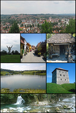 Valjevo panoramic view, Stjepan Filipović monument, Tešnjar, Old water mill, Petnica Lake, Nenadović Tower, River Gradac.