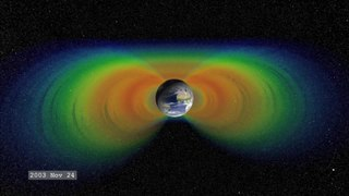 Van Allen radiation belt zone of energetic charged particles around the planet earth