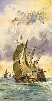 Ilustração da nau de Vasco da Gama com os deuses nas nuvens