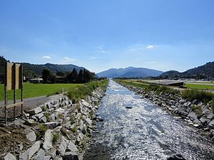 Agno, Ticino - Vedeggio river at Agno. The river bed correction in 1906 opened new farm land in Agno
