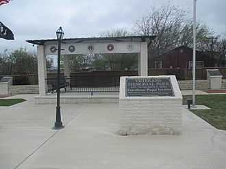 Rhome, Texas - Veterans Memorial Park in Rhome has twelve plaques honoring American service personnel from the wars fought since 1917.