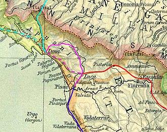 Via Clodia - track of the Via Clodia Nova from Lucca to Luni