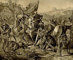 Stefan Milutin - Victory of king Milutin over Tatars. Lithograph by Anastas Jovanović on 1853.