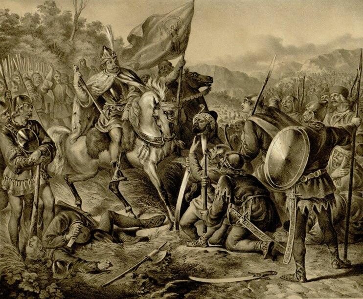Victory of King Milutin over the Tatars, Anastas Jovanović (1853)