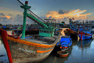 Fishing boat in Phan Thiet, Vietnam. Much of t...
