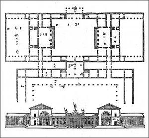 Villa Thiene - Design by Palladio for the villa (mainly unrealized), from I Quattro Libri dell'Architettura