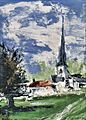 Village church palette knife technique by Jules Grandgagnage.jpg