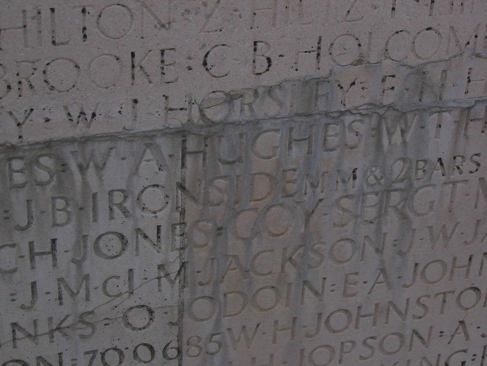 Vimy Memorial - panel of names before restoration