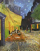 An outdoor café with tables and chairs to the left of a street beneath an awning, under a night-time sky with yellow stars in a dark sky; people are present in the background of both the café and street but not the foreground; dark buildings line the right side of the street.