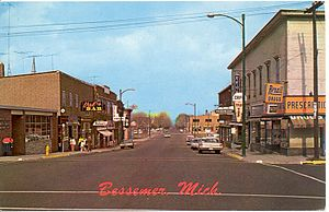 Bessemer, Michigan - Vintage picture of Downtown Bessemer (Sophie Street)
