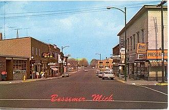 Bessemer, Michigan - Vintage picture of Downtown Bessemer (Sophie Street)