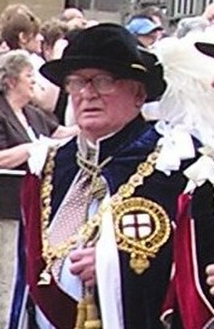 Matthew White Ridley, 4th Viscount Ridley - Viscount Ridley in the robes of a Knight Companion of the Order of the Garter